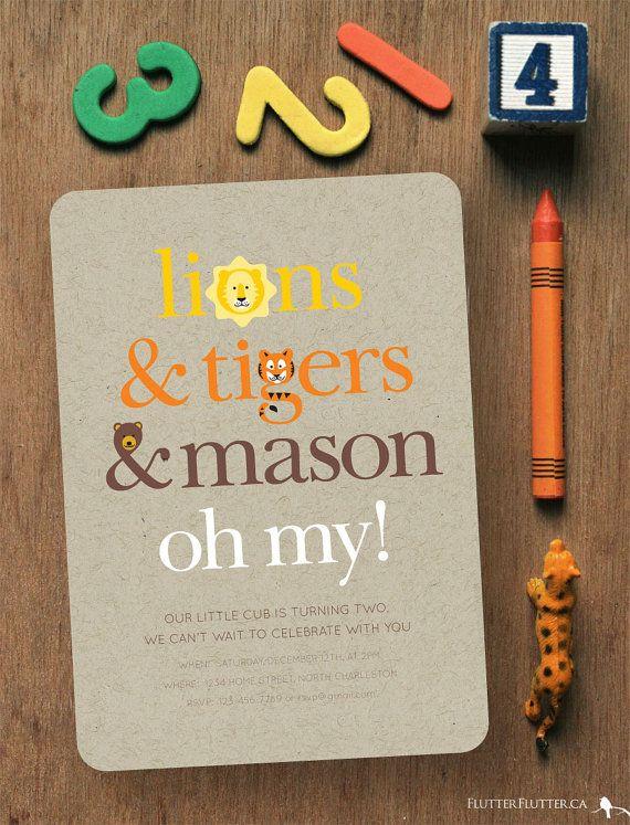 LIONS & TIGERS & BEARS Oh My! // CUSTOM PRINTABLE Birthday Invitation // 5 x 7