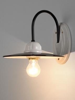 Enamel & ceramic wall light