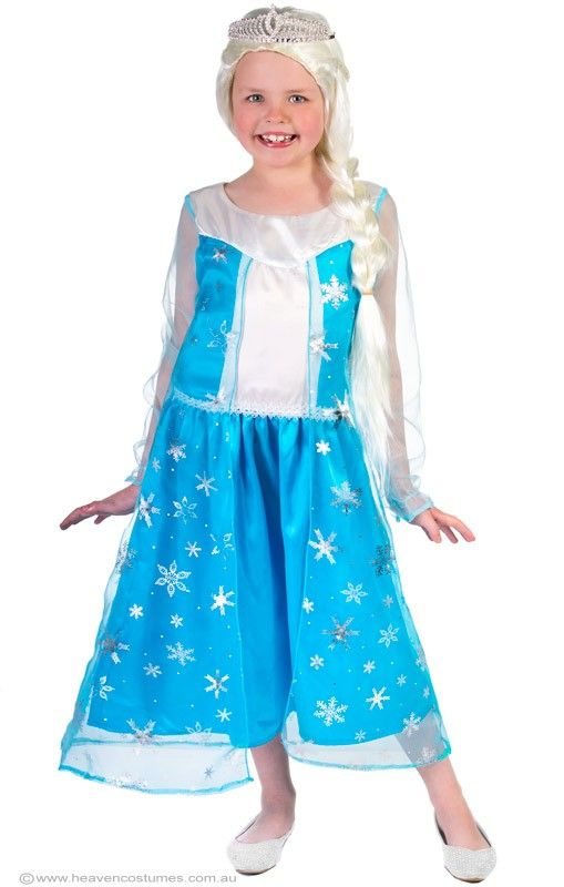 Elsa Girls Frozen Costume - Elsa Girls Frozen Costume  Girls Elsa the Snow Queen costume from Frozen. This beautiful quality girls Elsa costume dress is perfect for your next Disney princess costume party, or as this years Book Week costume idea.  Includes:  Dress  Description:   Blue satin knee length dress with white satin bodice and white braid trim The dress has a white satin chest line and blue organza sleeves. The dress has an attached blue organza cape with ...