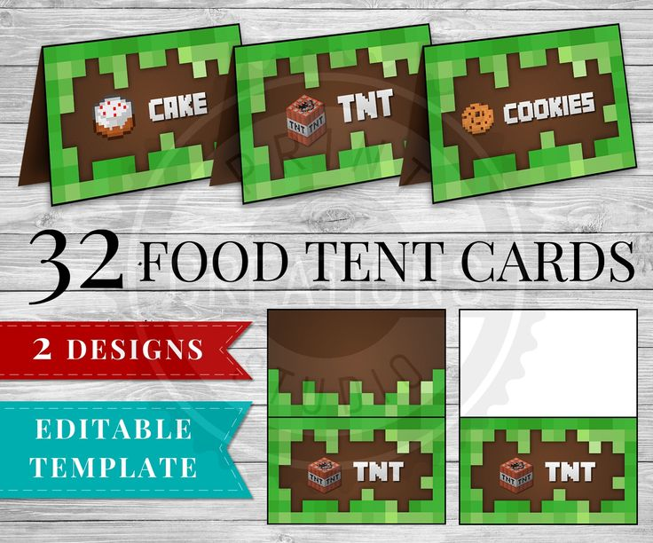 Printable Minecraft Food Tent Cards perfect for your Minecraft Party! 32 food items included in these Minecraft Food Tent Cards PLUS Editable PDF to add your own items!