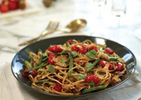 Roasted Vegetable Linguine with Torn Fresh Basil | Vegetarian Times
