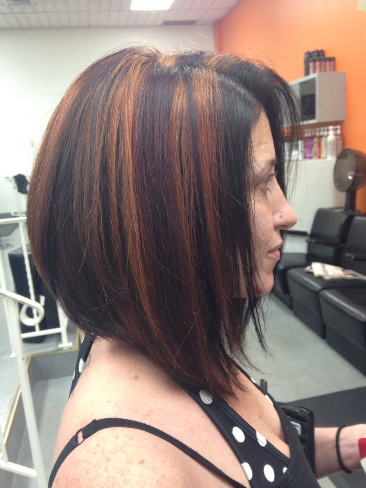Red base with brown and blonde Highlights and long stacked ...