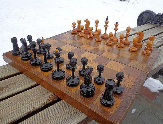 vintage chess set Soviet chess set wooden chess set USSR.