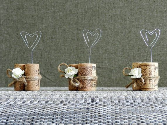 Place Card Holders, Wine Tasting Party Decor, Winery Wedding Decor, Wine Cork Place Card Holder, Rustic Wedding Decorations, Set of 17.