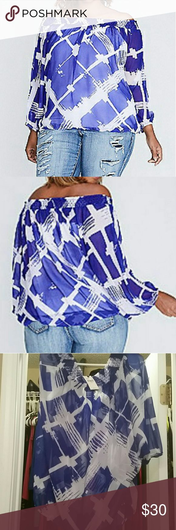 Lane Bryant blue white printed off shoulder top New with tags  Size 14/16  Sold out online This top will need an under shirt as it is see through.  dolman sleeves and elastic hem create a beautiful blouson (i.e., blousey) effect. But the real star? The off-the-shoulder silhouette. And that print. Smocked elastic neckline. Elastic sleeves and hem. Lane Bryant Tops Blouses