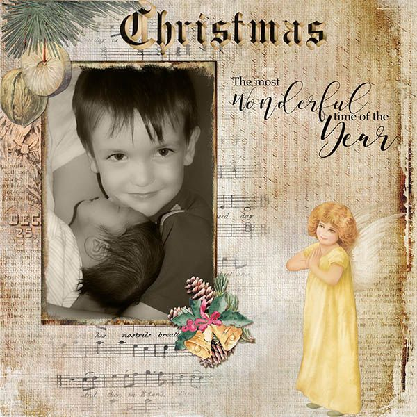 The greatest gift I could possibly get are the cuddles and love of my grandchildren, these are the two youngest and I can hardly wait to see them this Christmas!  It will be the Most Wonderful Time of the Year!  I used the beautiful collaboration of Vicki Stegall Designs and Lynne Anzelc Designs - Vintage Christmas