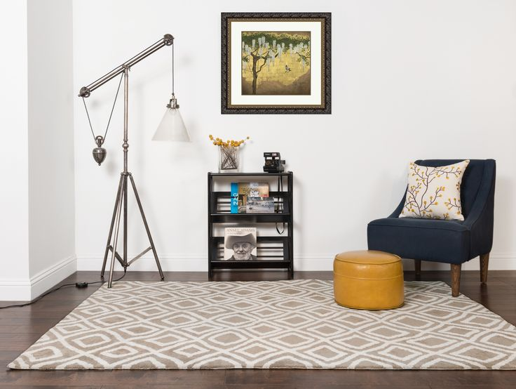 "Custom framed wall art by MyArtHabit.com   ""Wisteria With House Fin"" by Joanna Charlotte  #custom #framed #wallart #matted #ornateframe #landscape #tree #asian #homedecor #1960s #chair #yellowottoman #arearug #painting #print"