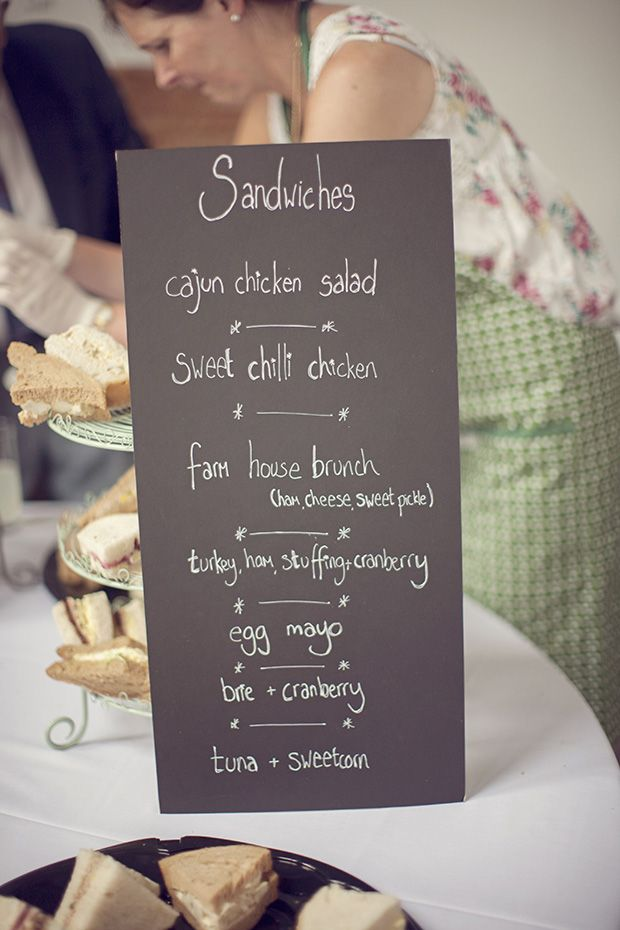 chalkboard menu - Read more on One Fab Day: http://onefabday.com/an-afternoon-tea-party-wedding-by-grace-photography/