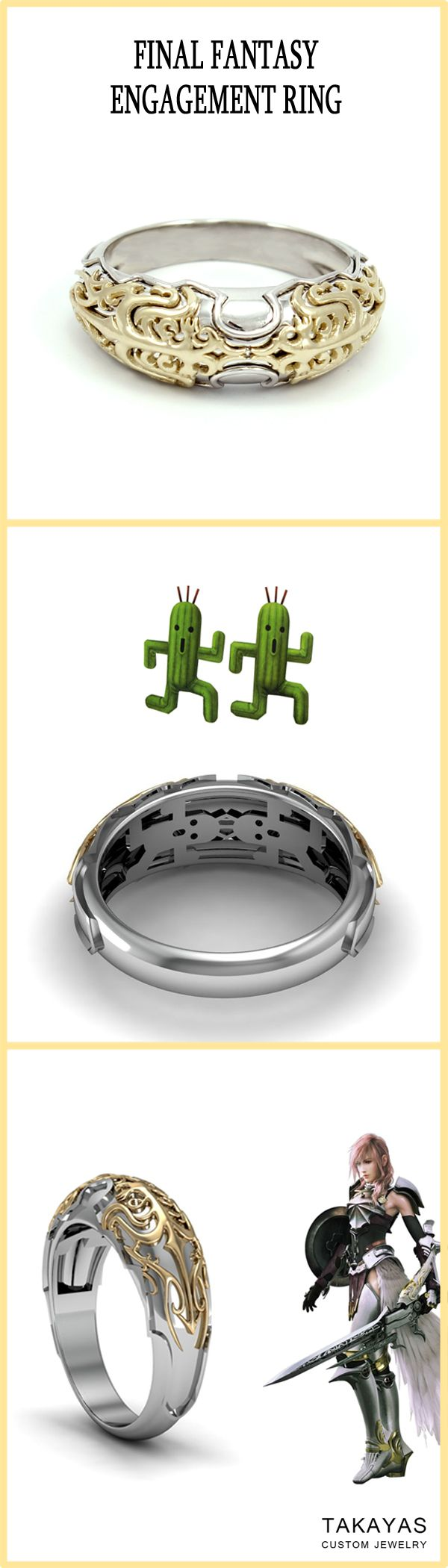 14k white and yellow gold Final Fantasy ring inspired by the armor Lightning wears in FFVII-2 and the Cactuar! Custom designed and handcrafted by Takayas Custom Jewelry