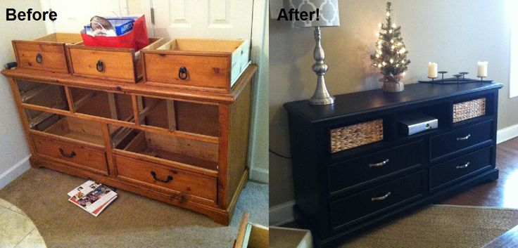 Our diy upcycled dresser turned entertainment center for Upcycled entertainment center