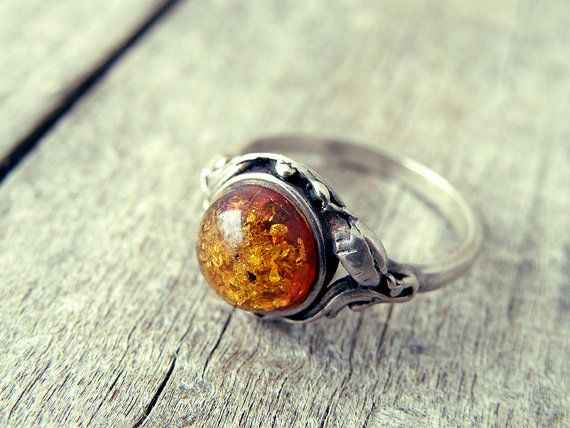 Amber ring sterling silver ring Greek ring stone by CarmelaRosa
