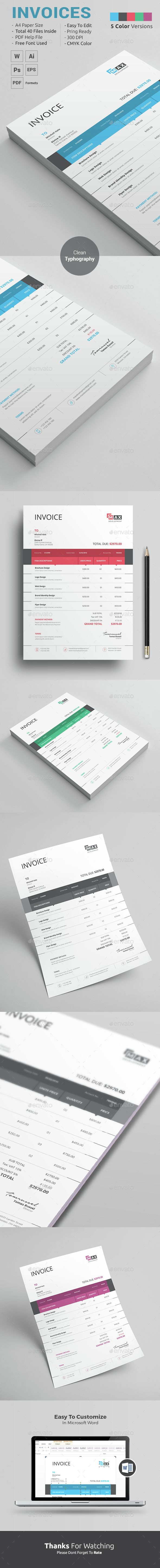 The 365 best Best Proposal   Proposal Template   Proposal Design     Clean Invoice template for entrepreneurs with taste  Available in MS Word   PSD   Ai