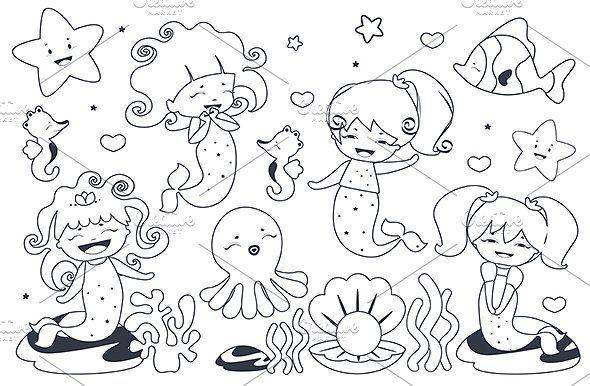 0e89dfa8e5dec8cd8bd4ffacb601b988 » Kawaii Mermaid Coloring Pages