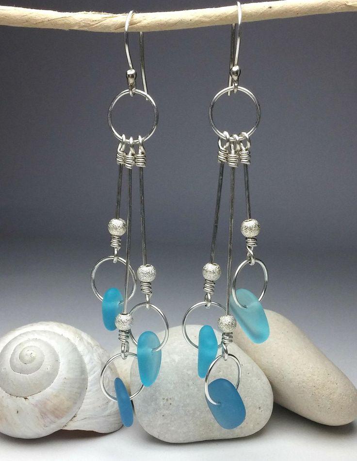 ~ Gorgeous ~ earrings with sea glass in solid sterling silver 925! A thoughtful gift for someone who loves the sea & the ocean! Offer it as a gift to your loved ones or to your bridesmaids, so that you can share something special with them!
