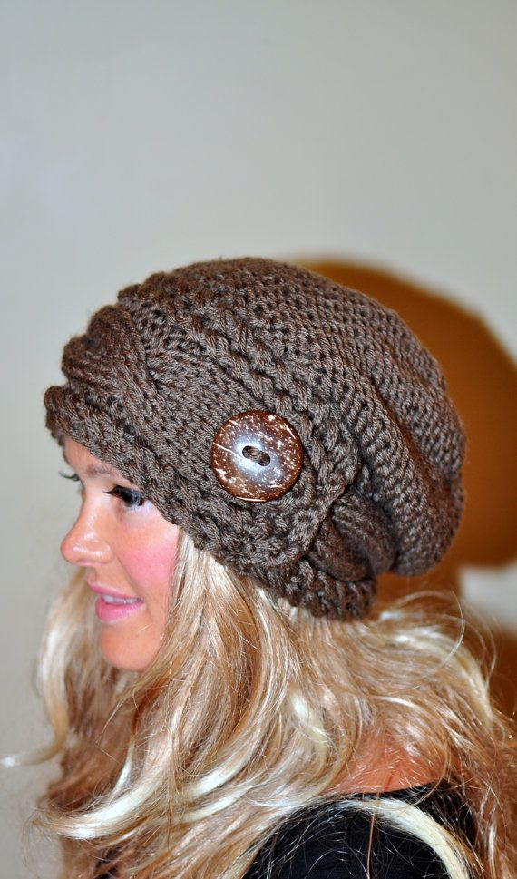 Slouchy Hat Slouch Beanie Cable Button Hat Hand Knit Winter Women Hat CHOOSE COLOR Taupe Brown Milk Chocolate Fall Chunky Gift under 50