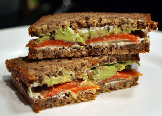 I'm not really into sandwiches, but this smoked salmon with wasabi cream cheese one looks pretty yum.
