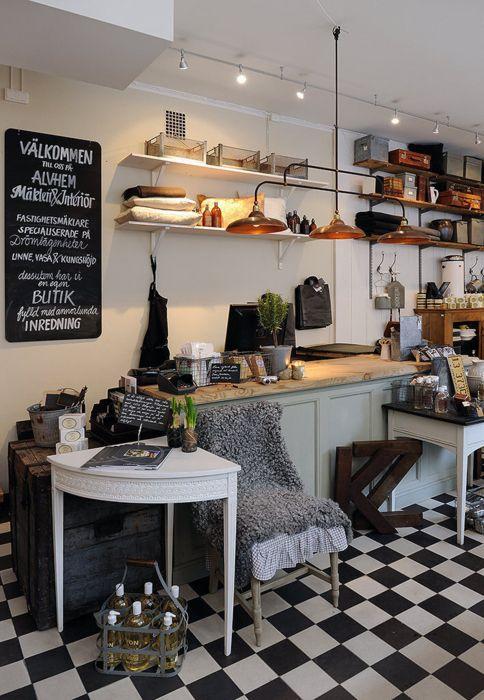 black white floor tiles blackboard - Black Cafe Decor