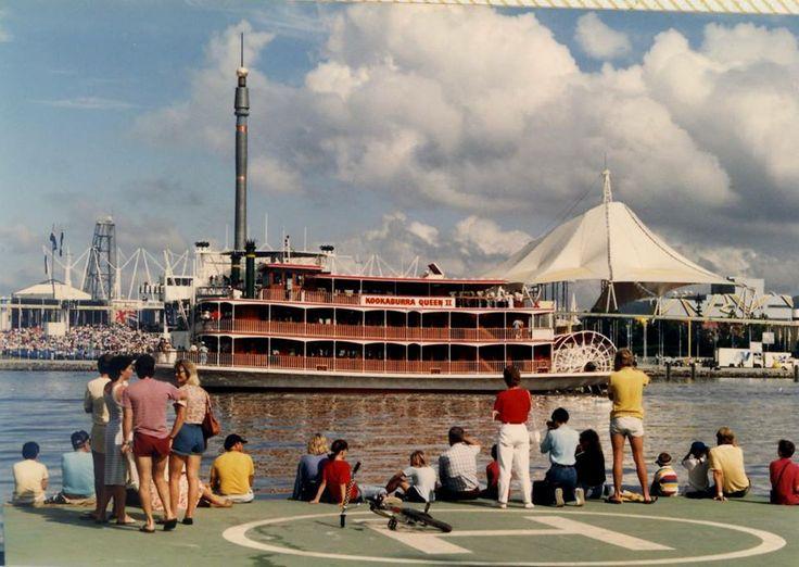 Kookaburra Queen II sailing past Southbank during World Expo 88.