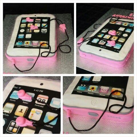 Anna's cake creations!  pink ipod cake with liquorice ear buds