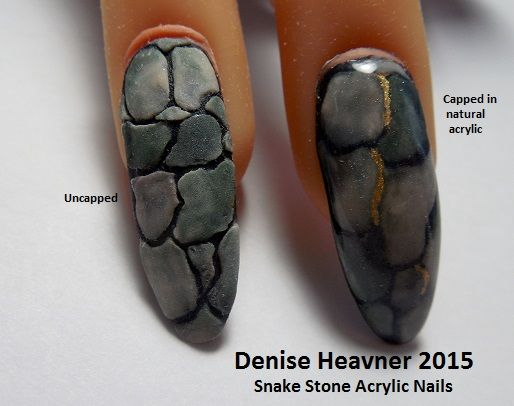 This is a acrylic nail design that looks like Snake skin and or Stone . Find me on YouTube , my channel name is Denisejohn65 , you'll find this tutorial and many more .