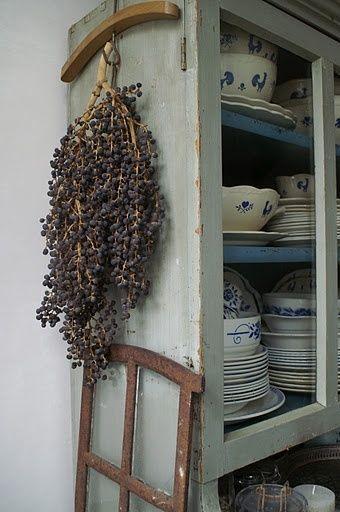 blauw wit servies + lavendel