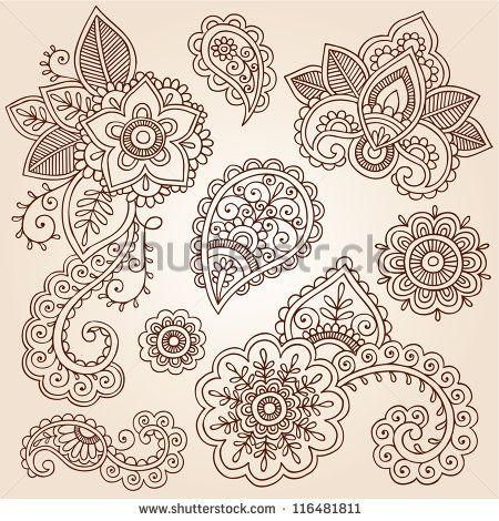 henna blumen und paisley mehndi tattoo skizzen set abstrakte blumen vektor llustration. Black Bedroom Furniture Sets. Home Design Ideas
