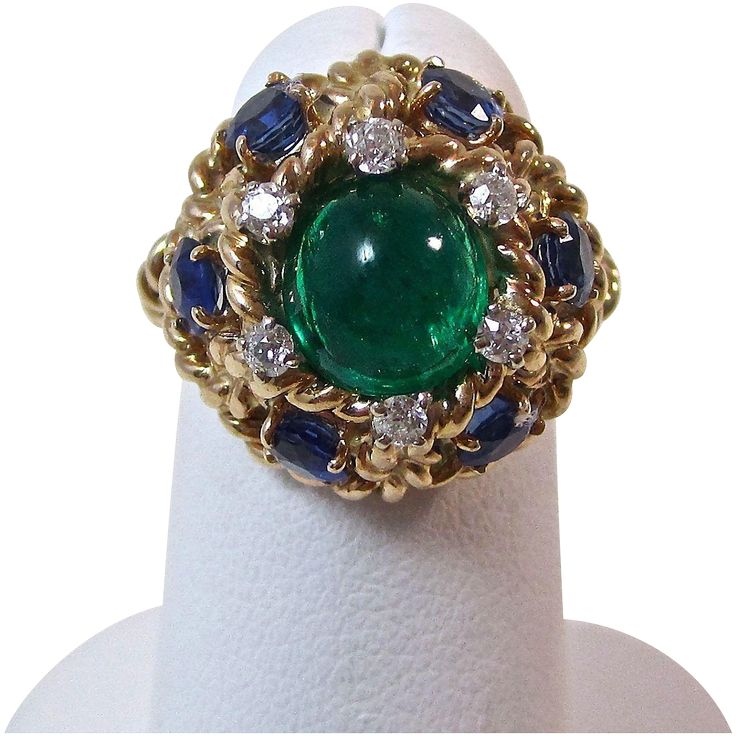 Vintage Estate 1960's Emerald Sapphire Diamond Engagement/Wedding Ring 14K