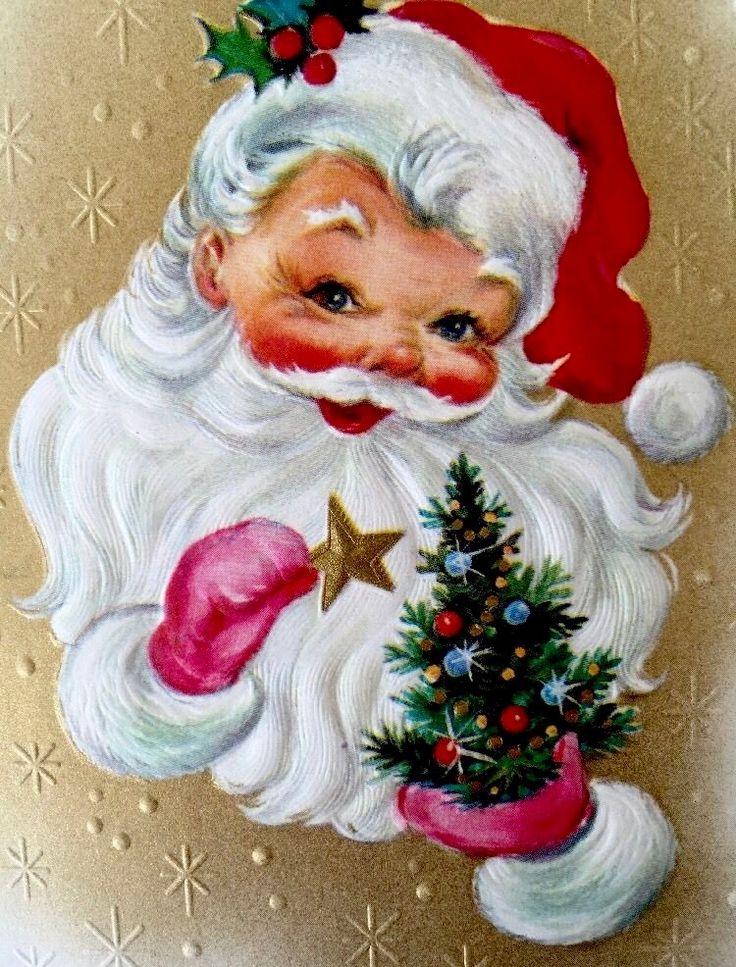 Vintage Santa. Retro Christmas Card. Vintage Christmas Card. Santa with Christmas Star.