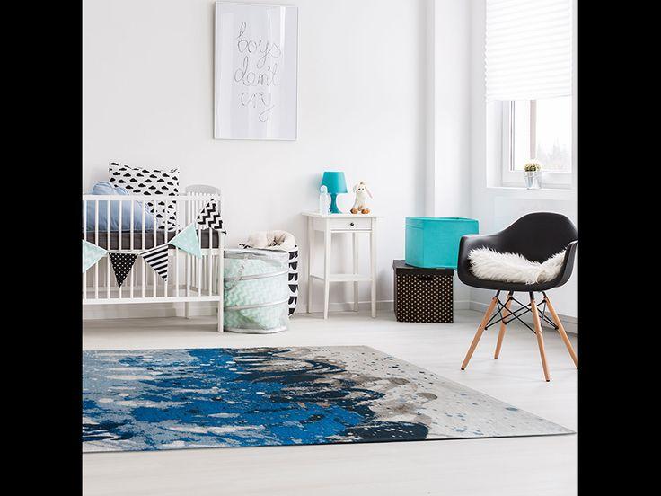 Fur Deco | cotton wool rug atlantic surf - blue waves