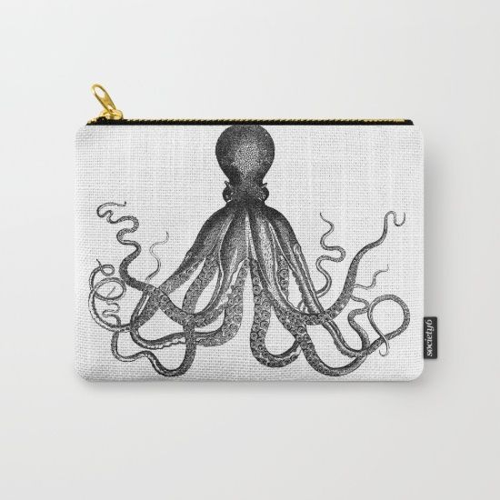 Antique Nautical Steampunk Octopus Vintage Victorian Kraken sea monster emo goth drawing make-up cosmetic bag or carry-all pouch