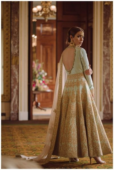 Indian Women Suits - Light Blue Anarkali with Golden Embroidery | WedMeGood  #wedmegood #indianbride #indianwedding #anarkali #suit #indianwomensuits #full-length