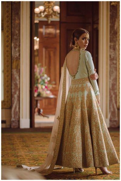 Indian Women Suits - Light Blue Anarkali with Golden Embroidery   WedMeGood #wedmegood #indianbride #indianwedding #anarkali #suit #indianwomensuits #full-length