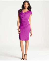 Ann taylor Side Ruched Jersey Dress in Purple (Passion Flower) | Lyst