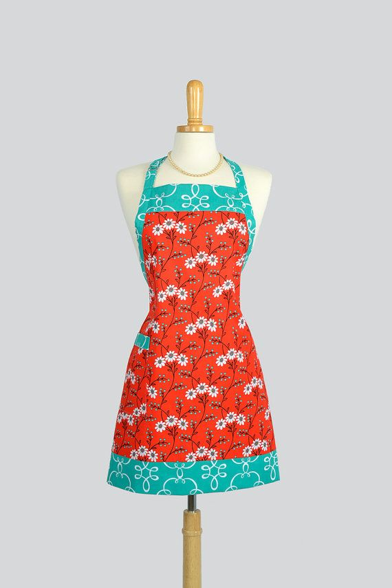 Reversible Chef Apron - Womens Kitchen Cooking Apron in Michael Miller Red Teal Wallflower Waltz  Adjustable Neck Towel Ring