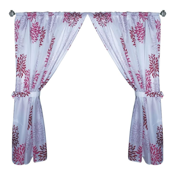 """Bodacious Blooms 34""""x54"""" Fabric Window Curtain with Tie-Backs"""