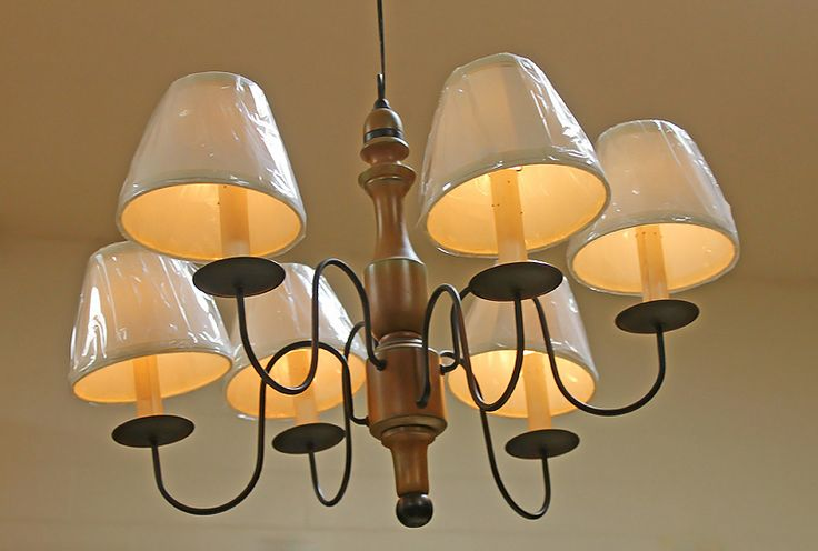 Wooden Chandelier with Candle-Sticks and  Lampshades