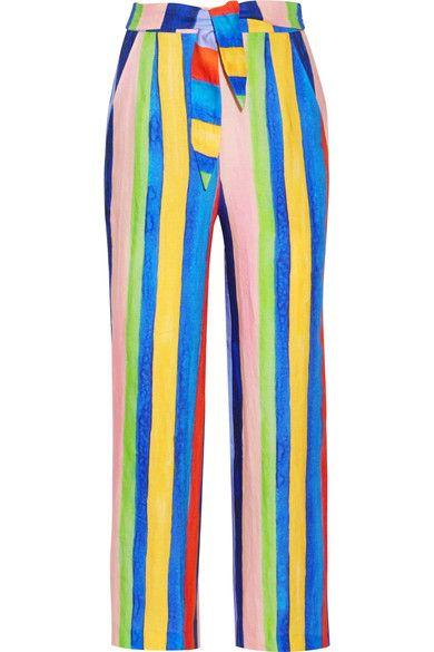 Mara Hoffman - Striped Organic Linen Wide-leg Pants - Blue - US10