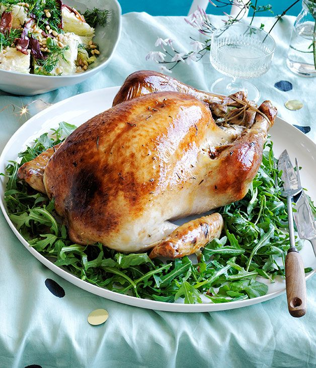 Australian Gourmet Traveller recipe for roast turkey with pistachio and rosemary stuffing, and fig and mint salad.