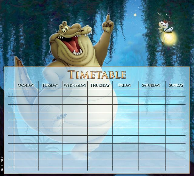 The Princess and the Frog Timetables 02