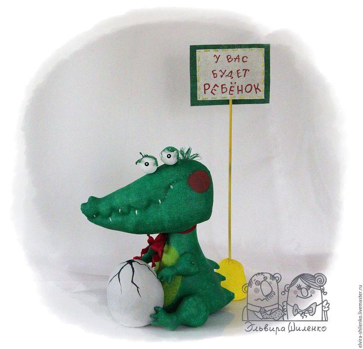 Купить У вас будет ребёнок - ярко-зелёный, зеленый, крокодил, подарок беременной, для беременных