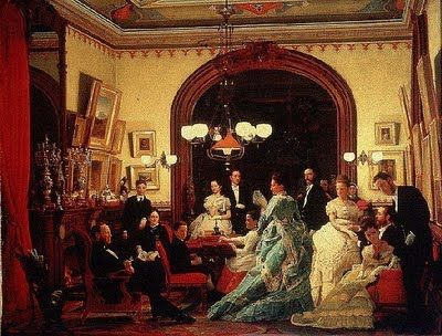 "Seymour Guy, artist ""Going to the Opera"" (depicting William Henry Vanderbilt family), c.1873 NYC Gilded Age."