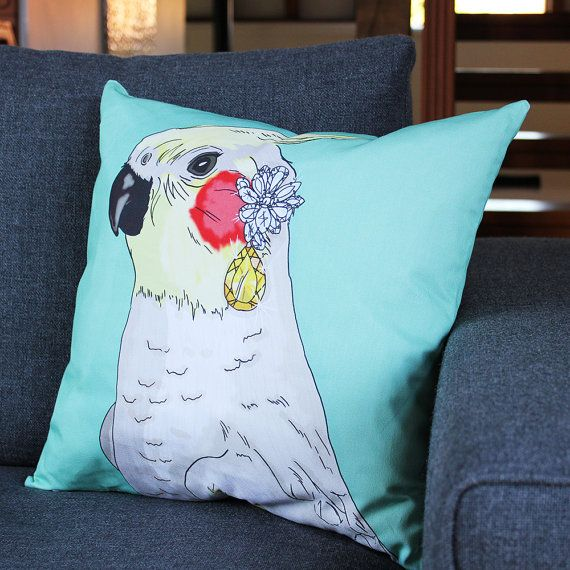 Cockatiel Print Cushion by PerkyDeco on Etsy