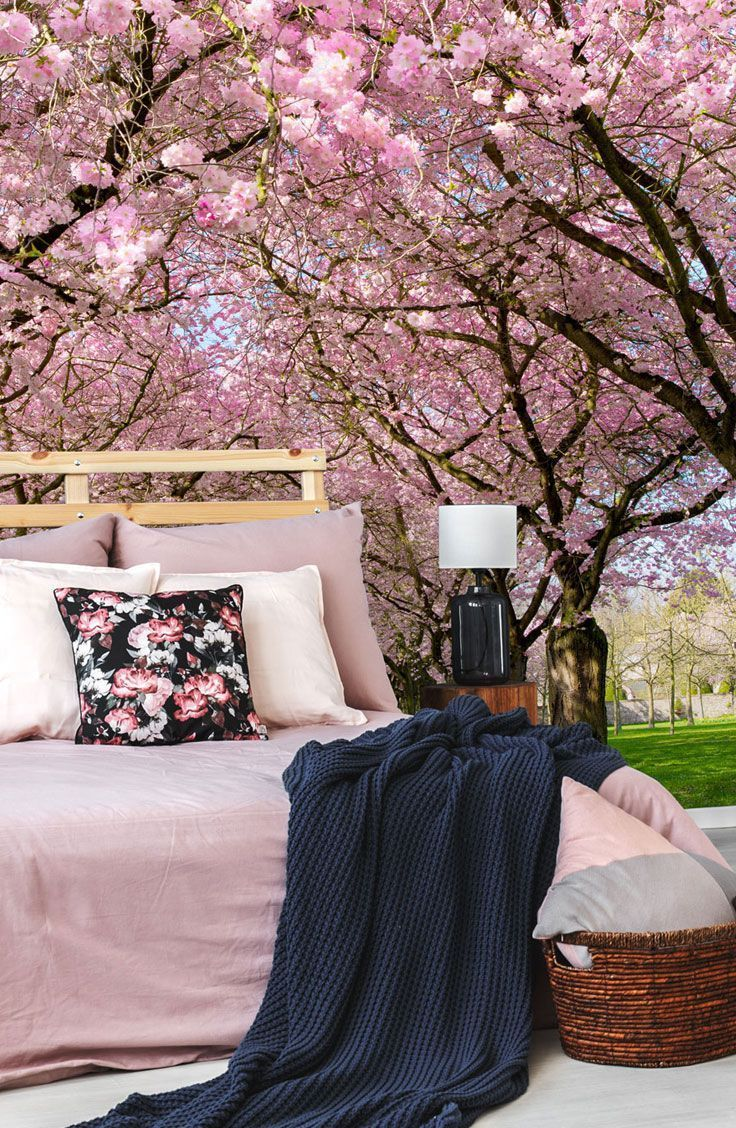 Cherry Blossom Trees Wall Mural Wallpaper Wallsauce Us Wallpaper Bedroom Tree Wallpaper Bedroom Simple Bedroom