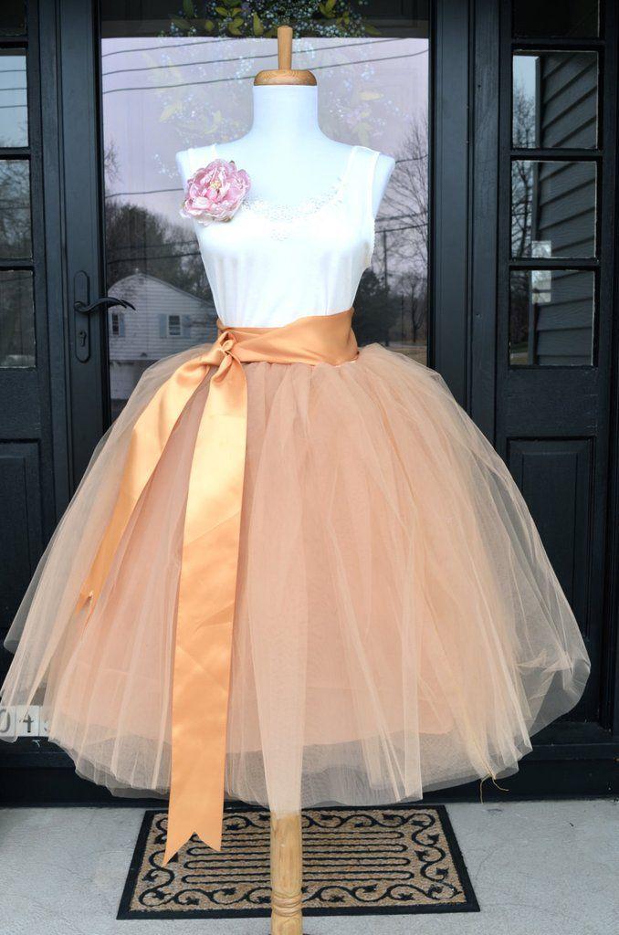 Womens Tutu, Peach Blush Champagne Tulle skirt, Champagne Tutu, tulle skirt…