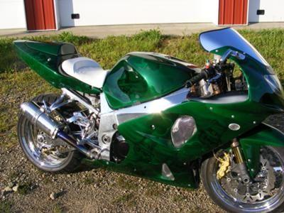 2002 GSXR 1000 with custom Green Irish Paint Skulls and Shamrocks St. Patrick's Day Motorcycle
