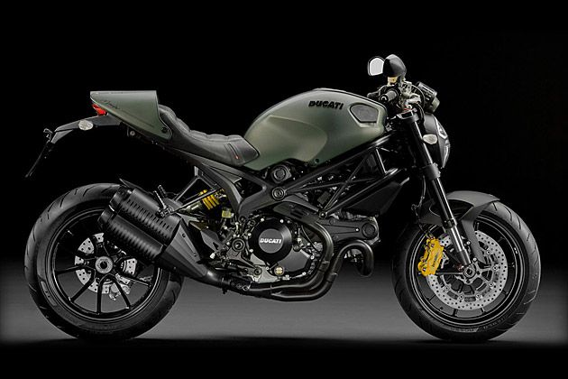 The Ducati Monster Diesel Motorcycle  is based on Ducati's Monster 1100 EVO, and designed by Diesel's fashion stylists, led by company founder Renzo Rosso himself. The result is a powerful street bike that is as notable for its military-inspired green and matte black color scheme as it is for its fantastic performance