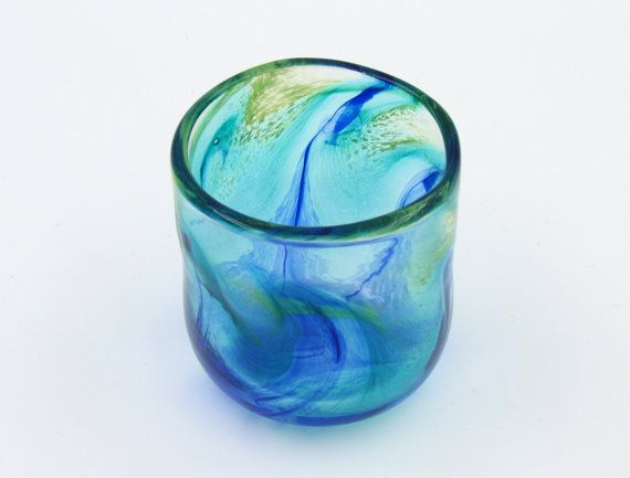 Peacock Tumbler, Blue Drinking Glass, Marbled Water Glass, Cobalt Blue and Green Art Glass Cup, Studio Glass Tumbler, Colorful Tumbler