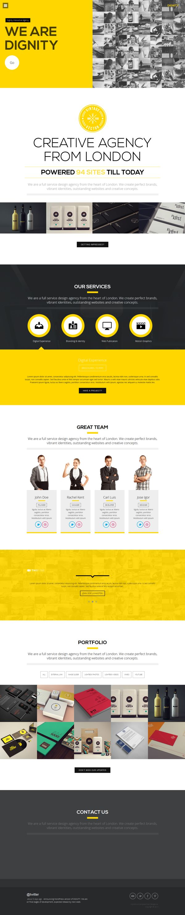 DIGNITY - WordPress One Page Responsive Portfolio by mona lisa, via Behance