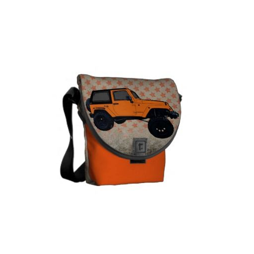 Lifted orange jeep wrangler mini messenger bag
