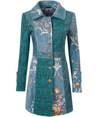 Rich, intricate and full of romance, this stunning coat will fill you with joy. The beautiful mix of jacquard fabrics will bring instant elegance to your look. Approx Length: 88cm Our model is: 5'8""